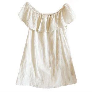 Aerie white cotton off shoulder sun dress